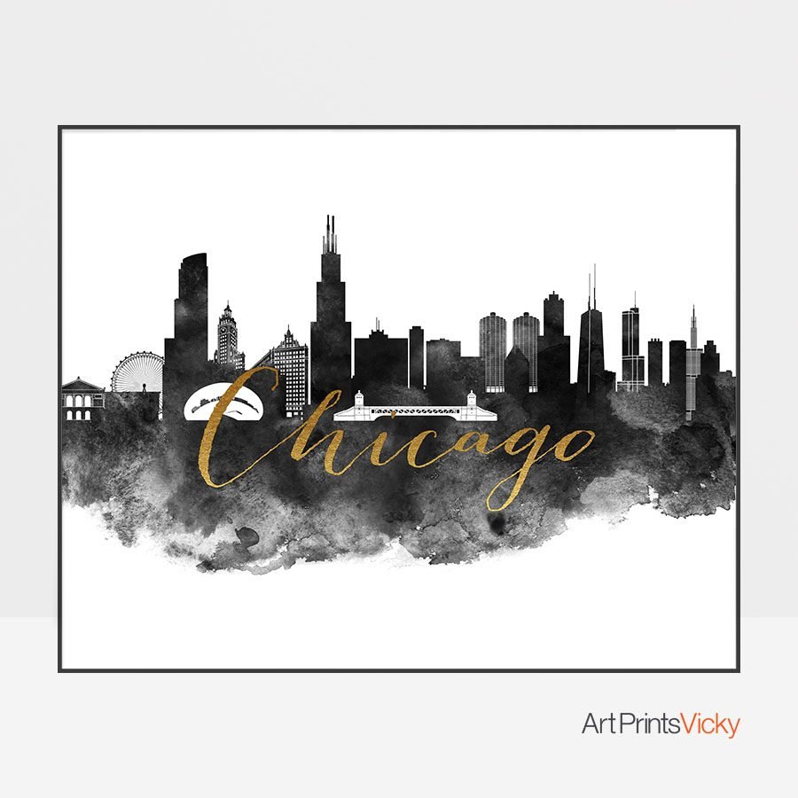 Chicago wall art print black and white