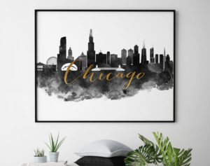 Chicago wall art print black and white second