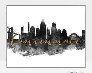 Cincinnati wall art print black and white