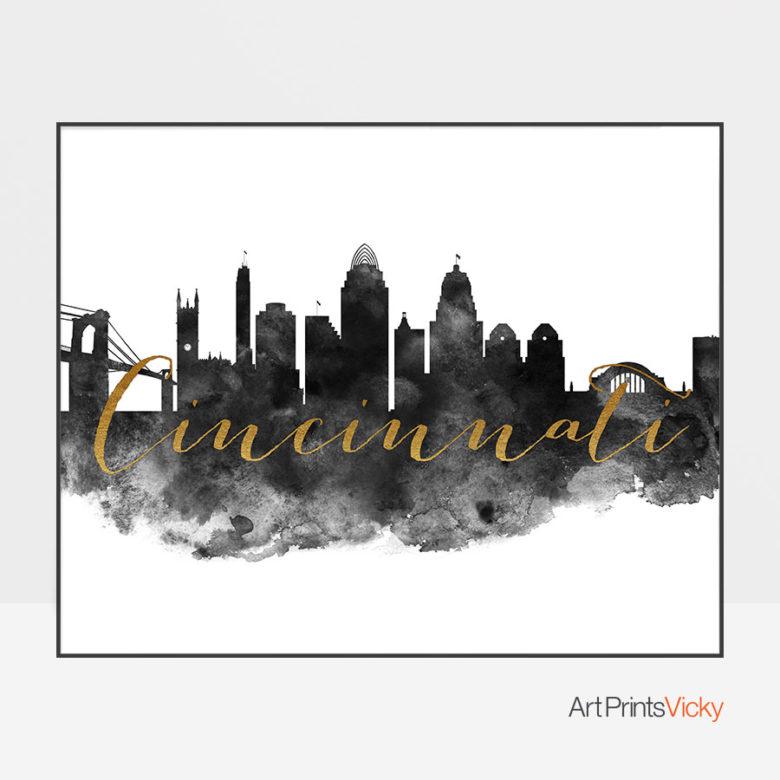 Cincinnati wall art print black and white