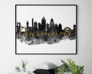 Cincinnati wall art print black and white second