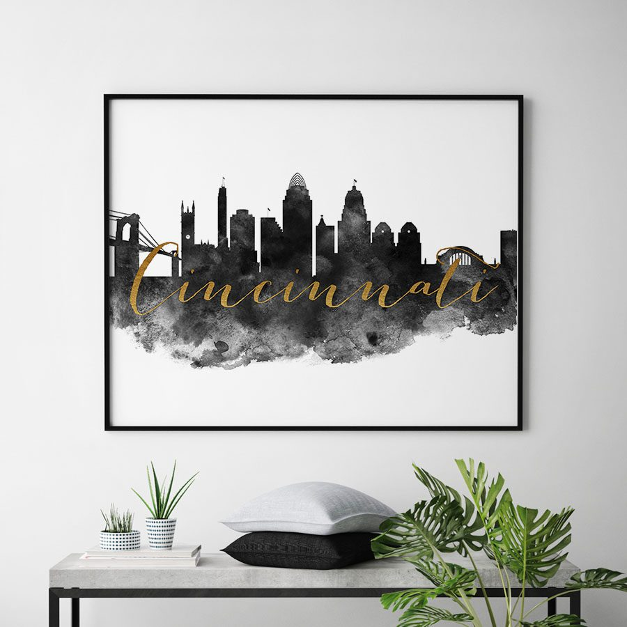 Cincinnati wall art print black and white second