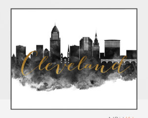 Cleveland wall art print black and white