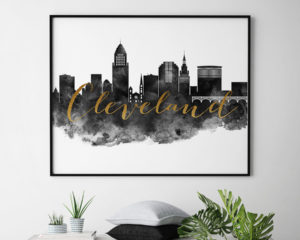 Cleveland wall art print black and white second