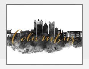 Columbus wall art print black and white