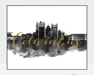 Columbus wall art print black and white