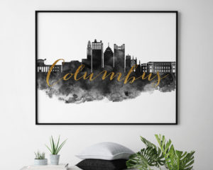Columbus wall art print black and white second