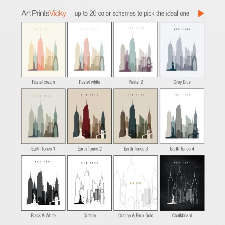 12 from 20 color schemes options ArtPrintsVicky