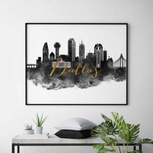 Dallas wall art print black and white second