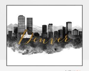 Denver wall art print black and white