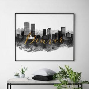 Denver wall art print black and white second