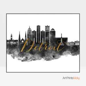 Detroit wall art print black and white