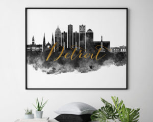 Detroit wall art print black and white second