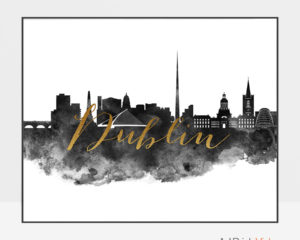 Dublin wall art print black and white