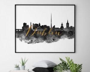 Dublin wall art print black and white second