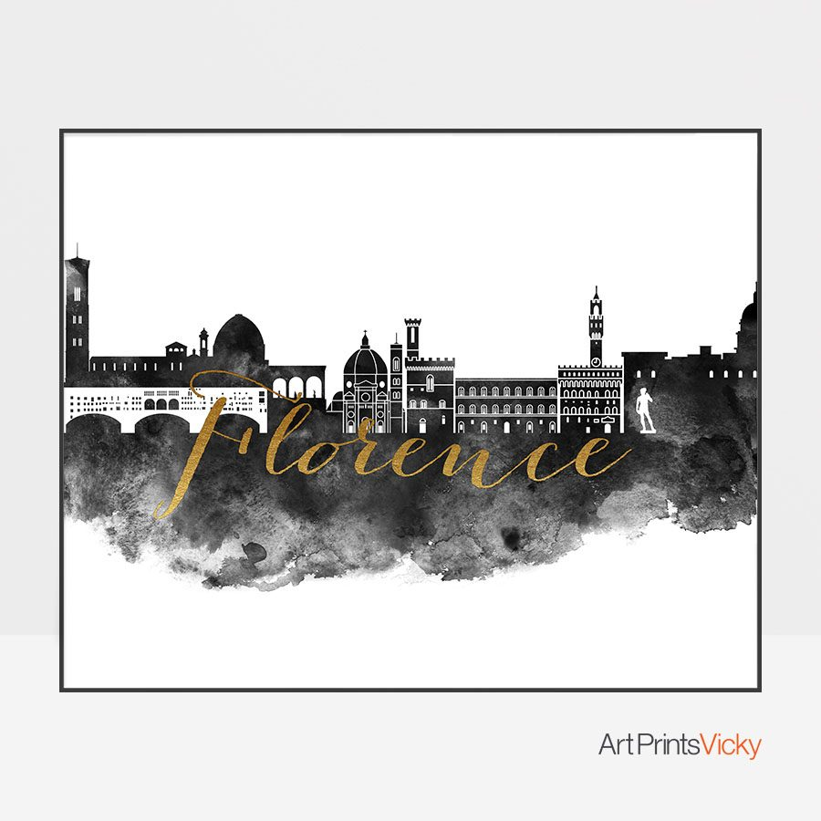 Florence wall art print black and white