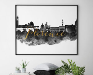 Florence wall art print black and white second