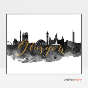 Glasgow wall art print black and white