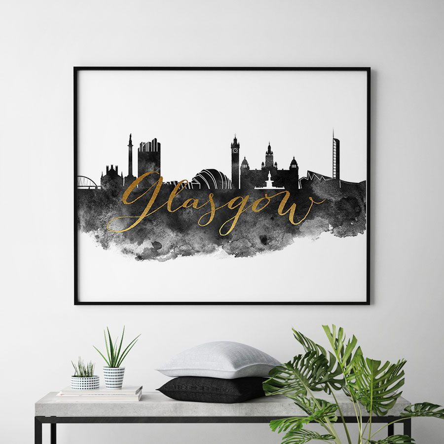 Glasgow wall art print black and white second