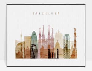 Barcelona skyline print watercolor 1 landscape