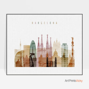 Barcelona print watercolor 1 landscape