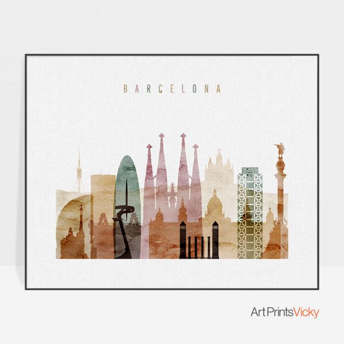 Barcelona print watercolor 1 landscape