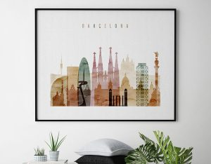 Barcelona skyline print watercolor 1 landscape second