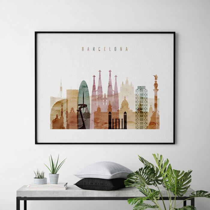 Barcelona skyline print watercolor 1 landscape second