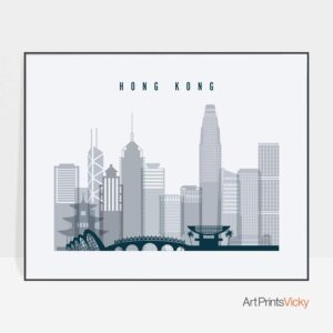 Hong Kong skyline art grey blue landscape