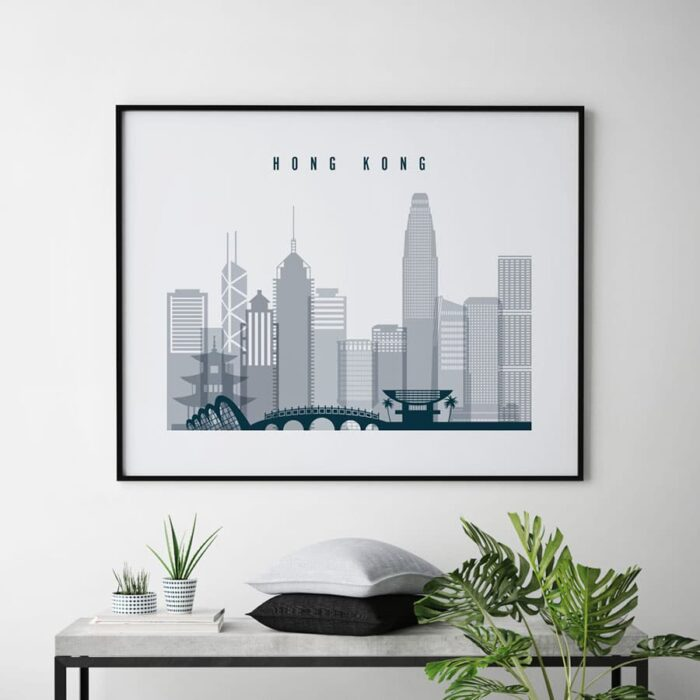 Hong Kong skyline art grey blue landscape second