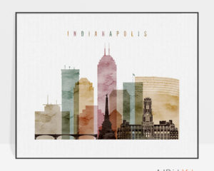 Indianapolis skyline art watercolor 1 landscape