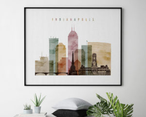 Indianapolis skyline art watercolor 1 landscape second
