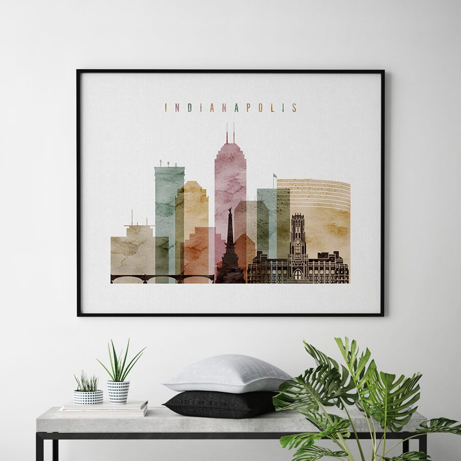 Indianapolis skyline art watercolor 1 landscape second