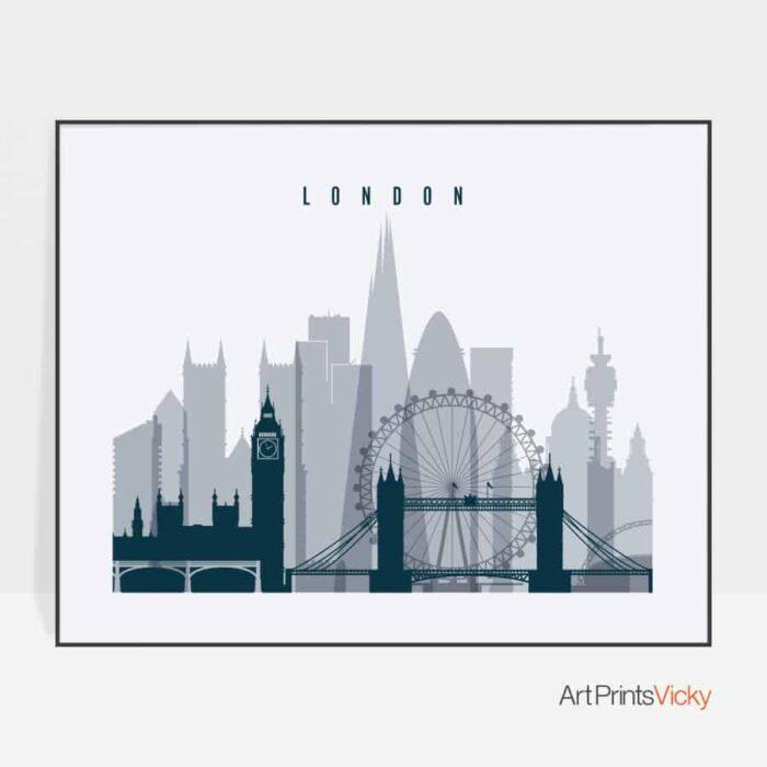 London skyline art grey blue landscape