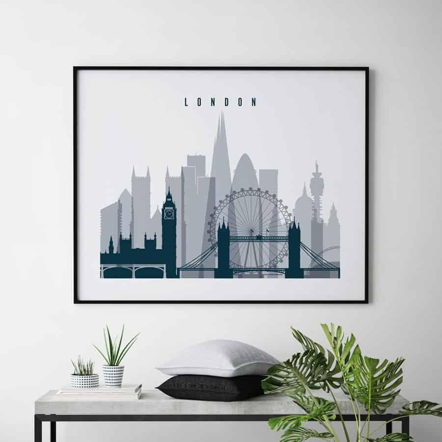 London skyline art grey blue landscape second