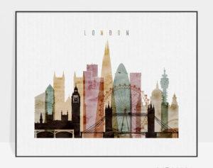 London skyline art watercolor 1 landscape