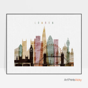 London skyline art watercolor 1 landscape