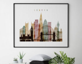 London skyline art watercolor 1 landscape second