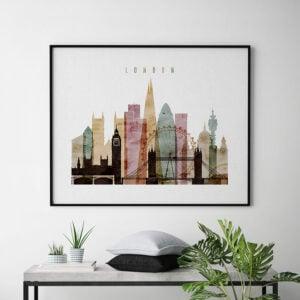 London skyline art watercolor 1 landscape second