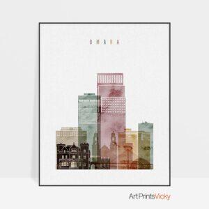 Omaha skyline art print watercolor 1