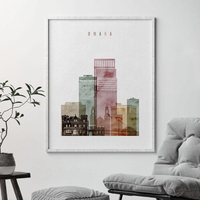 Omaha skyline art print watercolor 1 second