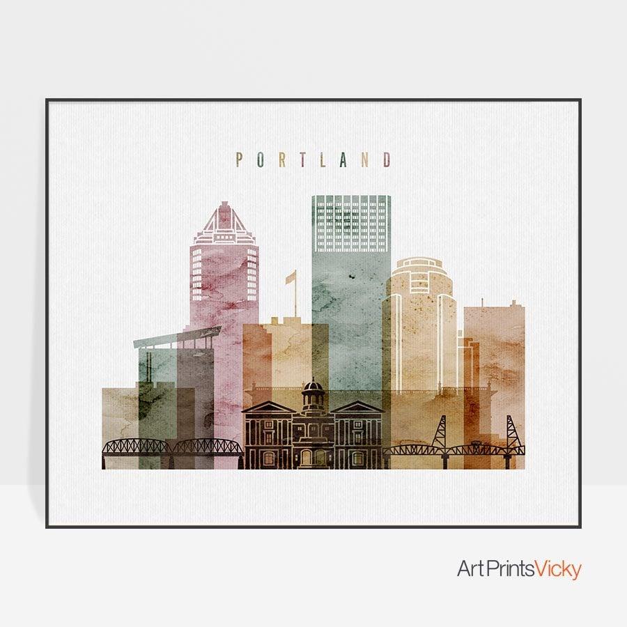 Portland poster watercolor 1 landscape