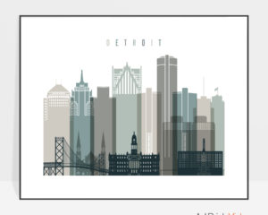 Detroit skyline print landscape earth tones 4