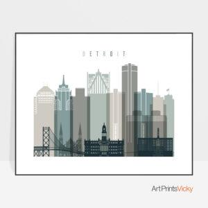 Detroit Print Landscape Earth Tones 4
