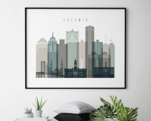 Detroit skyline print landscape earth tones 4 second photo