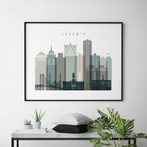 Detroit skyline print landscape earth tones 4 second photo