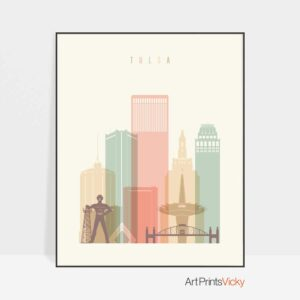 Tulsa poster skyline pastel cream