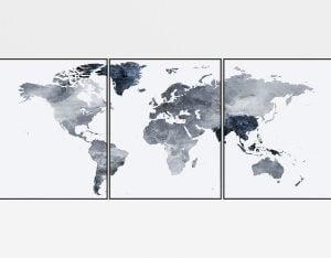 World map set of 3 prints grey blue