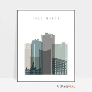 Fort Worth art print skyline earth tones 4