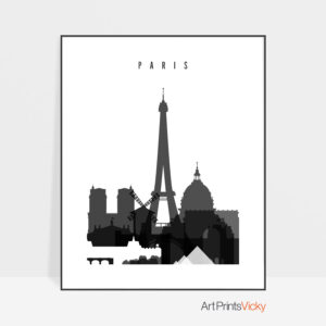 Paris skyline black and white poster